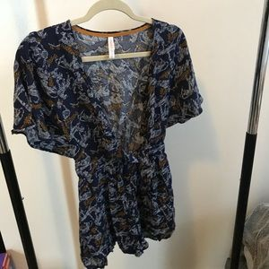Other - Patterned Romper | Navy, Yellow + White